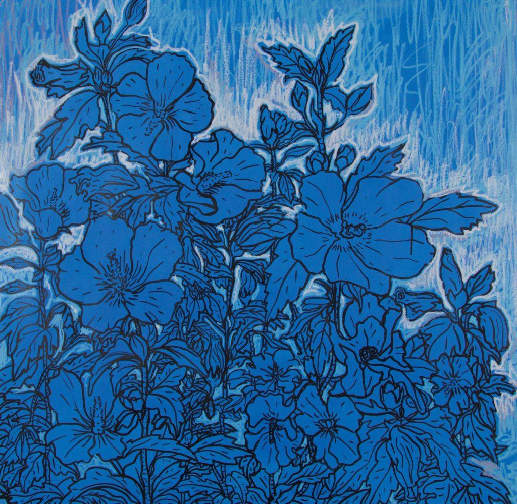 Grand dessin d'althéas bleus